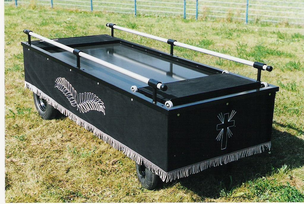 Sargwagen Modell Favorit mit Rollschlitt und Feststellbremse