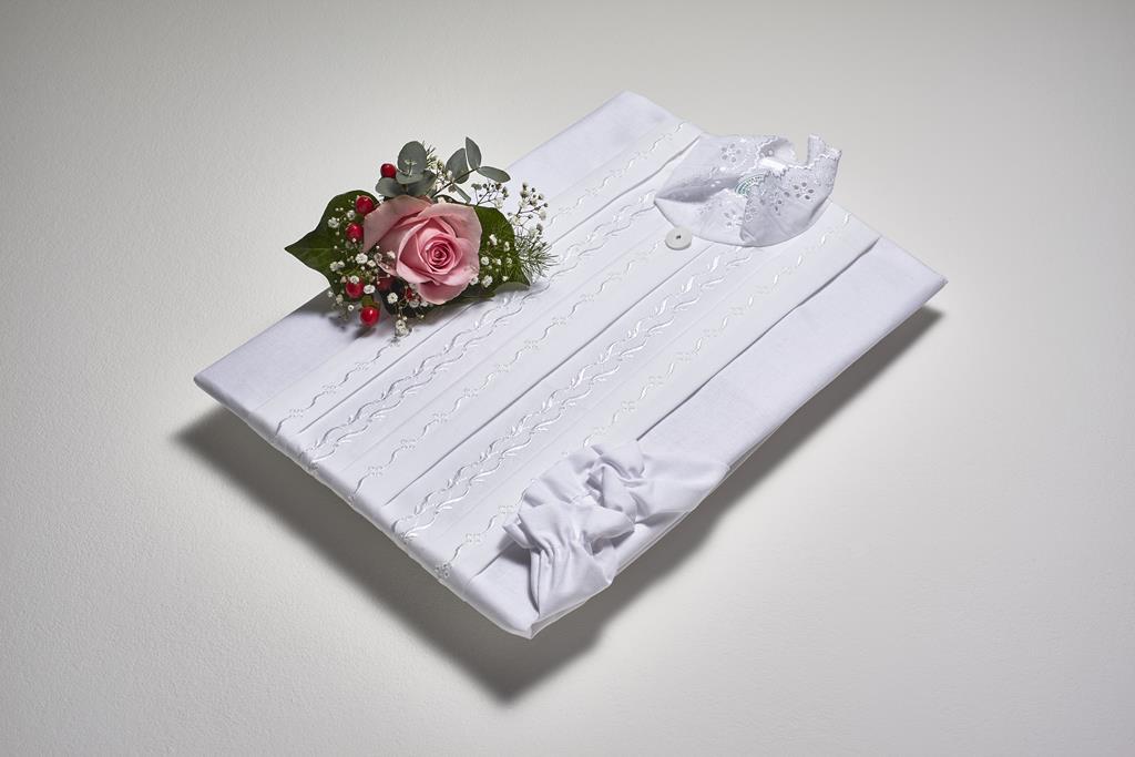 Damentalar, BW-Linon weiß, Batist-Einsatz, Spritzenkragen