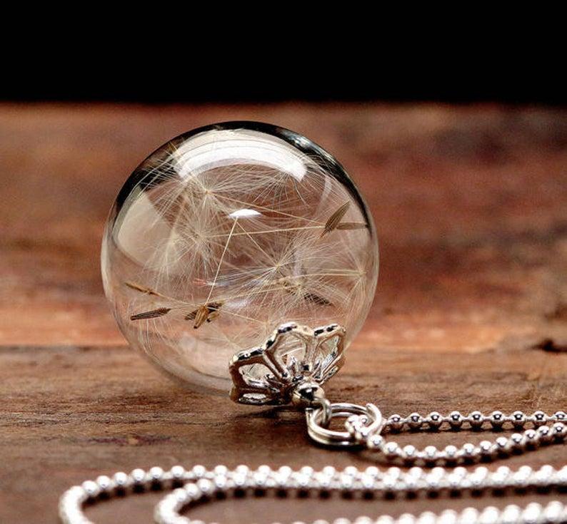 Erinnerungsschmuck 'Pusteblume- Kugel', Glaskugel, Silberkette