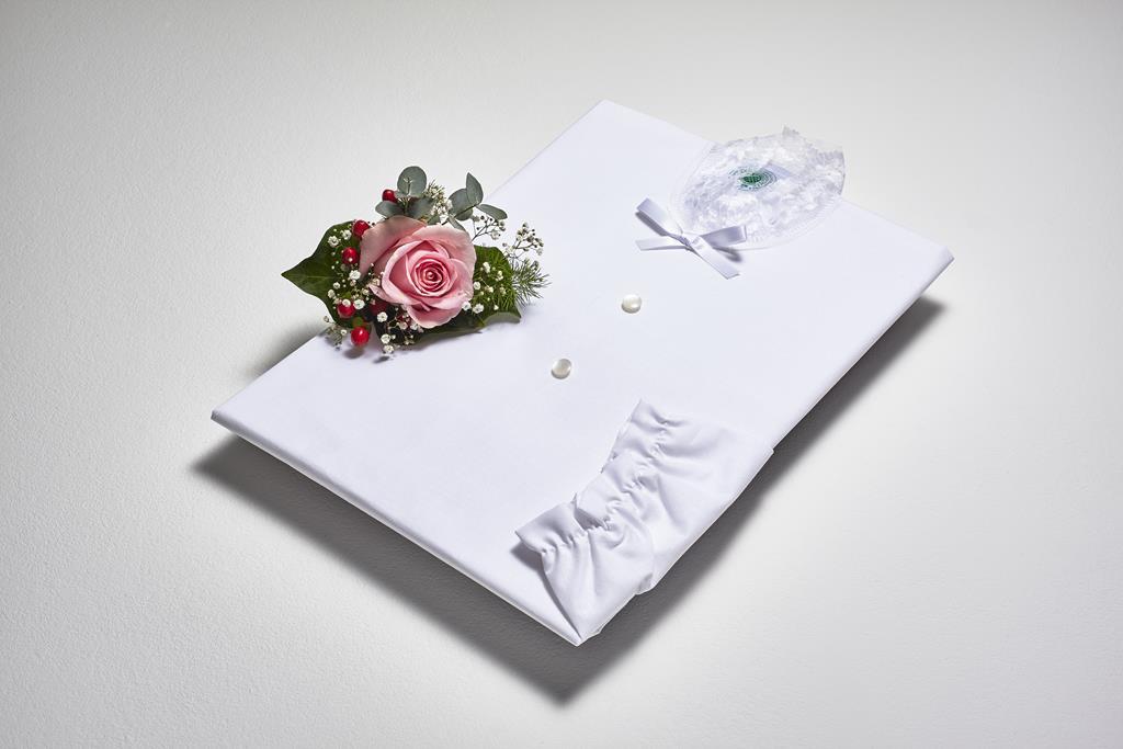 Damentalar, BW-Linon weiß, Spitzen- kragen, Schleife
