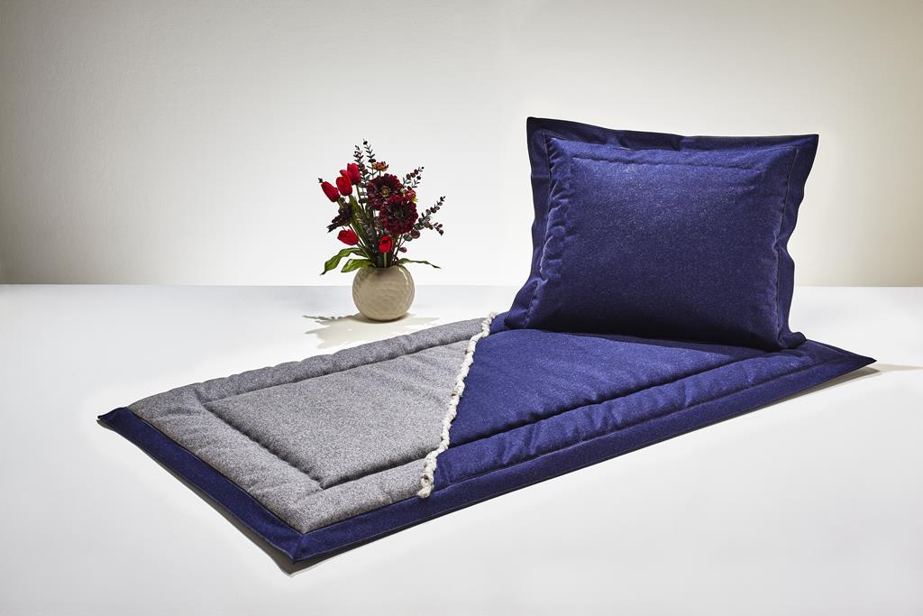 Deckengrt.,  Loden blau/grau, Filzkordel, Stehsaum, 350 g/m²
