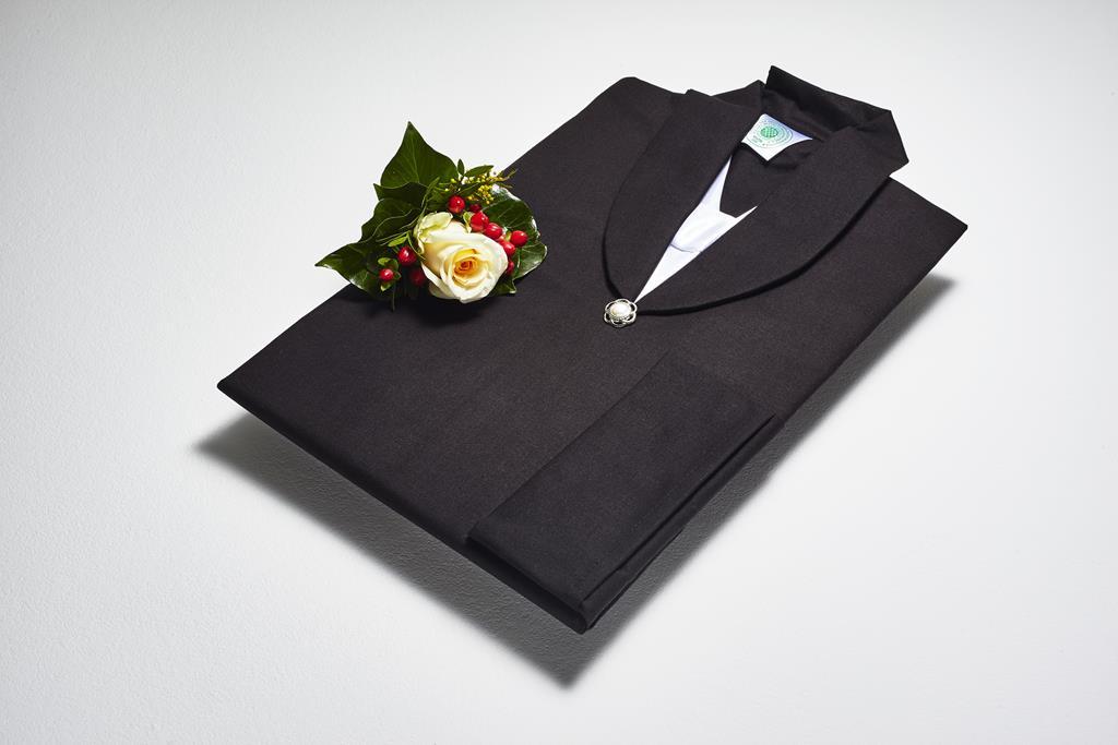 Damen-Fracktalar, BW-Linon schwarz, Atlas weiß