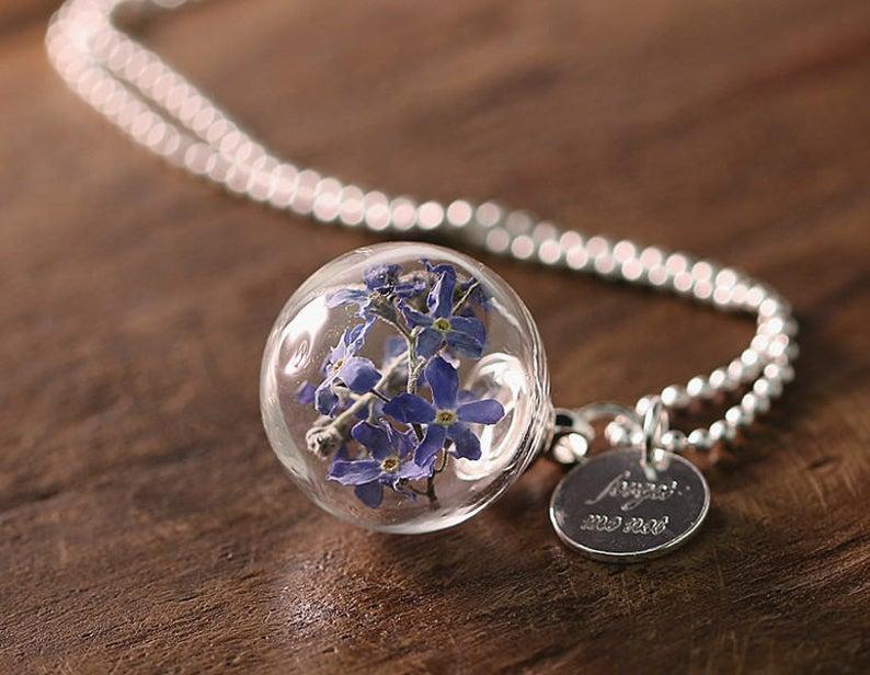 Erinnerungsschmuck 'Vergiss- meinnicht', Glaskugel, Silberkette