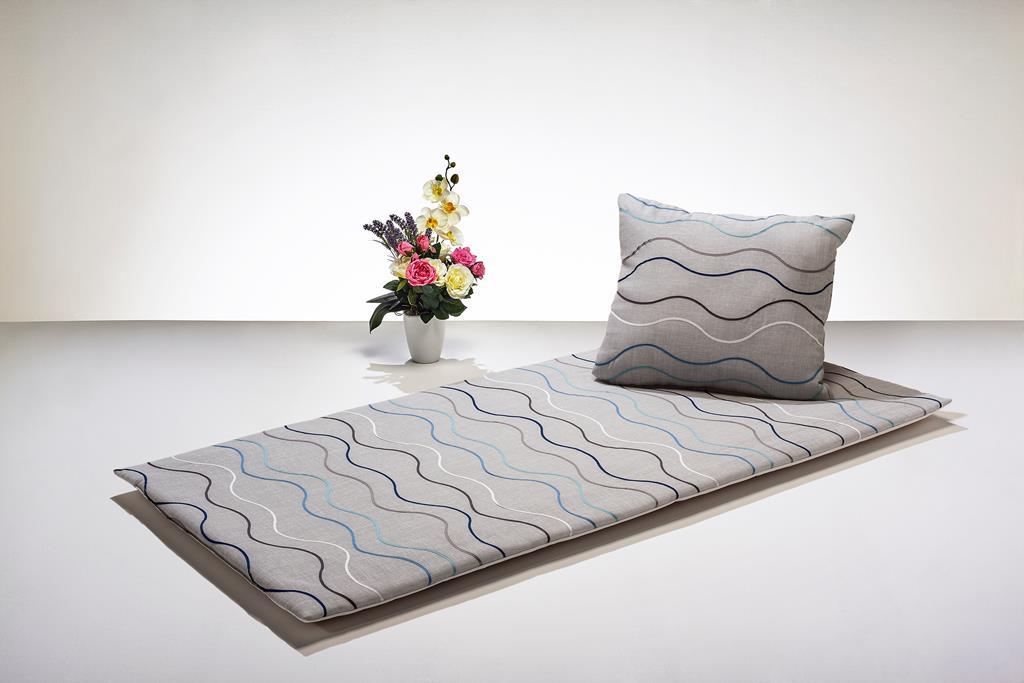 Deckengrt.,  Dekostoff grau mit Wellenmuster, 250 g/m²