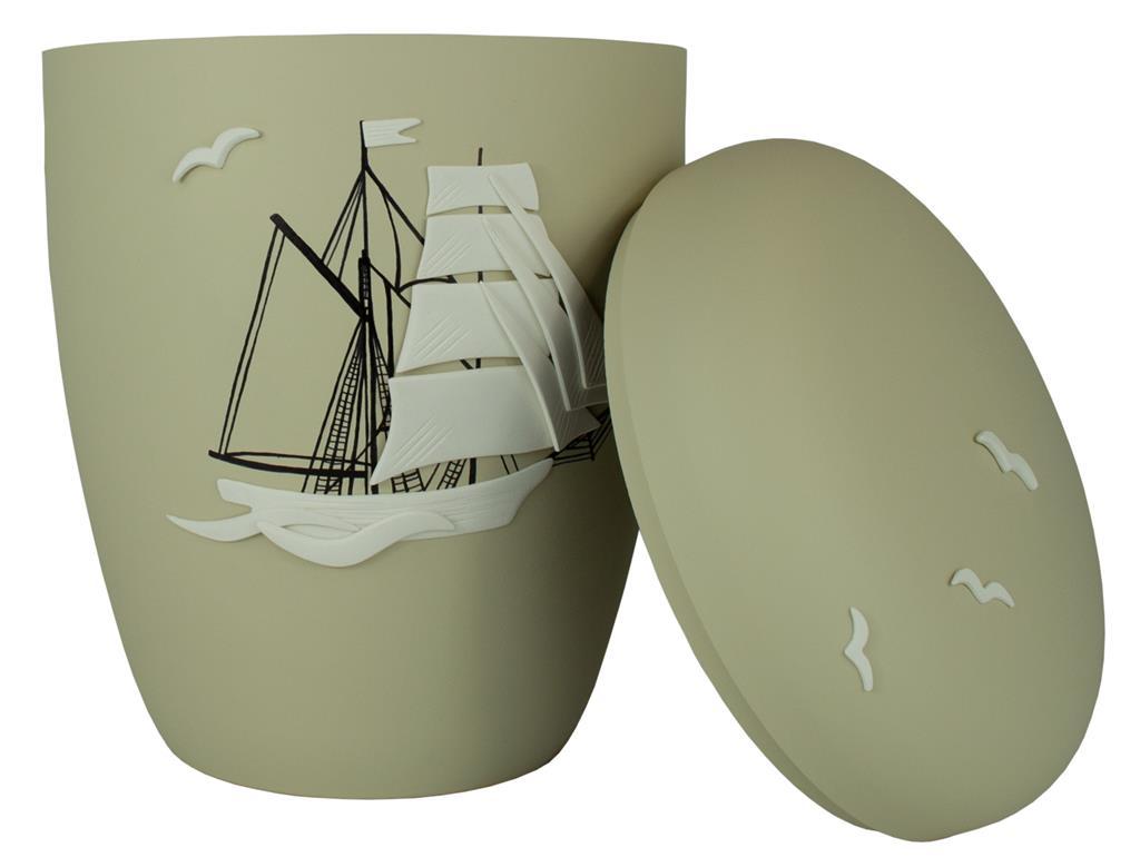 "Biourne glint-seashell, Design ""Segelschiff"""